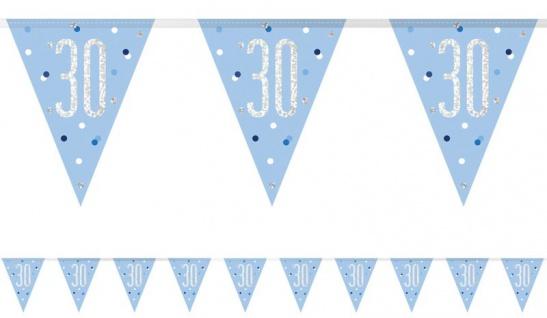 Wimpel Girlande Blue Dots Glitzer zum 30. Geburtstag