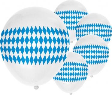 5 Luftballons mit Oktoberfest Rauten Motiv