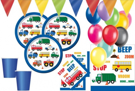 XL 44 Teile Fahrzeug Stau Party Deko Set für 8 Kinder