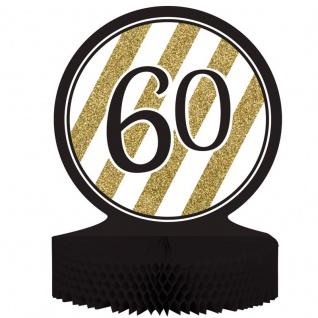 Tischaufsteller 60. Geburtstag Black and Gold
