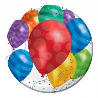 8 Papp Teller bunte Ballons Party