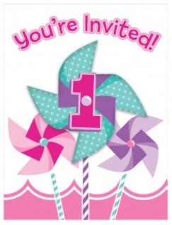 8 Einladungskarten 1. Geburtstag Windrad Pink Party