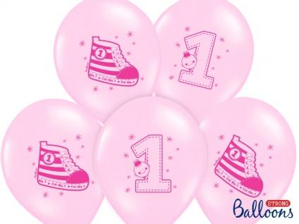6 Erster Geburtstag Pastell Rosa Luftballons - Vorschau 1