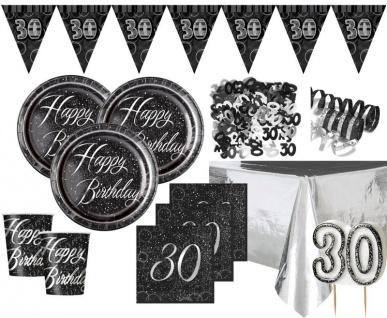 XXL 37 Teile edles Party Deko Set zum 30. Geburtstag in Schwarz Silber foliert für 8 Personen