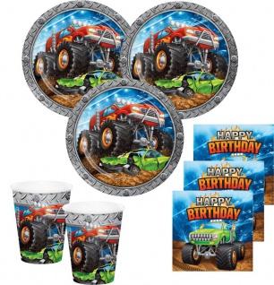 Monster Truck Rallye Geburtstags Set für 16 Personen - 48 Teile