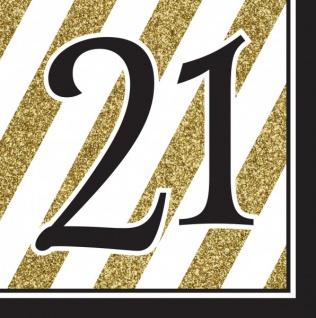 16 Servietten 21. Geburtstag Black and Gold