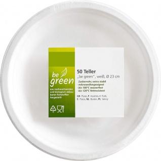 50 Papp Teller aus Zuckerrohr weiß - be green