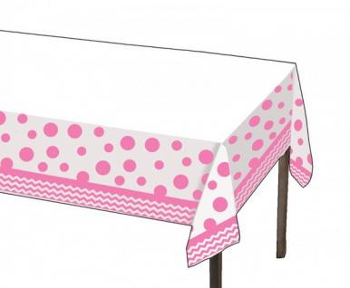 Plastik Tischdecke Zickzack und Punkte Bonbon Rosa