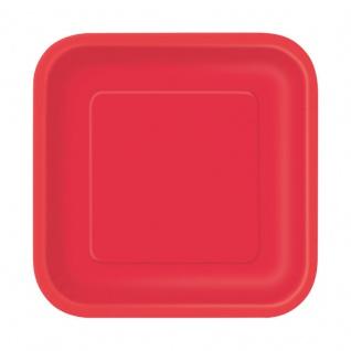 16 kleine quadratische Papp Teller Rot