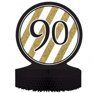 Tischaufsteller 90. Geburtstag Black and Gold