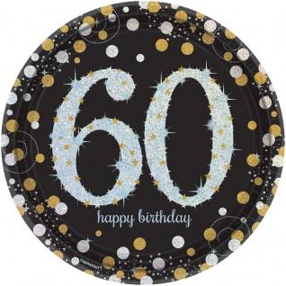 8 Teller Glitzerndes Gold und Schwarz 60. Geburtstag