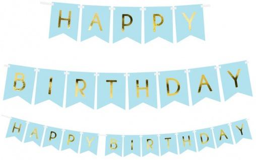 Geburtstags Girlande Hellblau mit Gold folierter Schrift