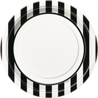 8 Teller schwarze Streifen