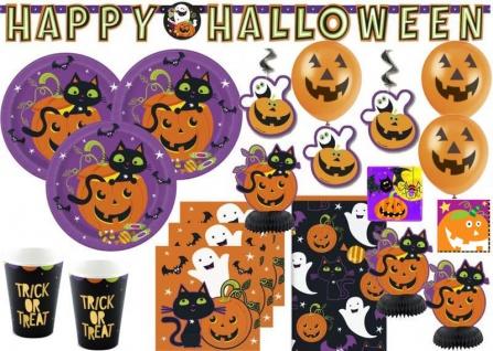 XXL Halloween Deko Set Schwarze Katze und Kürbis für 8 Kinder