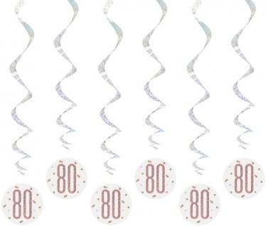 6 hängende Swirl Girlanden Urban Apricot Glitzer in Rosegold zum 80. Geburtstag