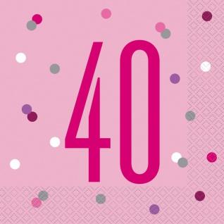 16 Servietten Pink Dots zum 40. Geburtstag