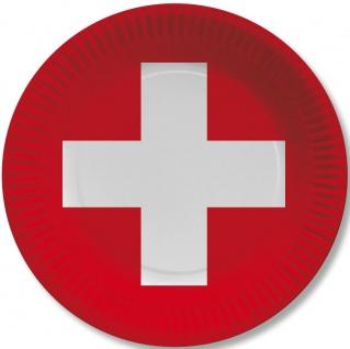 10 Papp Teller Schweiz Party Deko