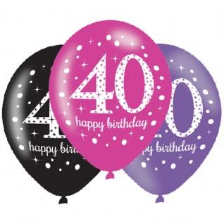 6 Luftballons Pink und Schwarz 40. Geburtstag