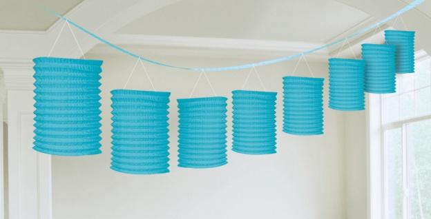 Papier Laternen Girlande Bermuda Blau