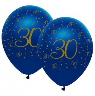6 Luftballons blauer Achat zum 30. Geburtstag in Gold bedruckt