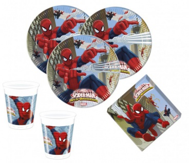 52 Teile Spiderman Web Warriors Party Deko Set - für 16 Kinder