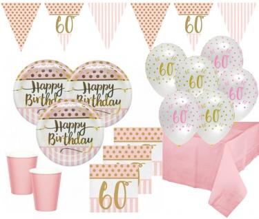 XL 44 Teile Rosa & Gold Glitzer Party Deko Set zum 60. Geburtstag für 8 Personen