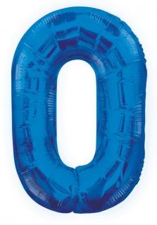 XXL Folien Ballon in Form der Zahl 0 Blau 86 cm