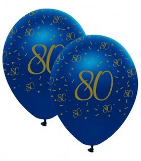 6 Luftballons blauer Achat zum 80. Geburtstag in Gold bedruckt