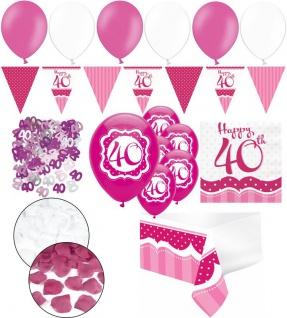 XXL 35 Teile zum 40. Geburtstag Perfectly Pink für 18 Personen - Servietten