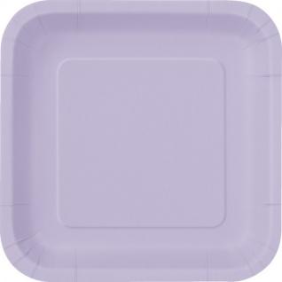 14 quadratische Pappteller Lavendel