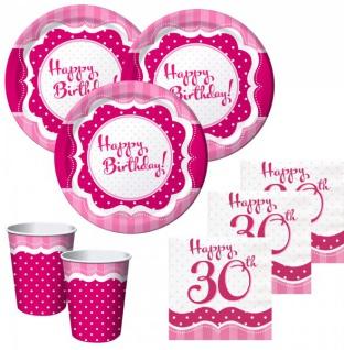 50 Teile zum 30. Geburtstag Perfectly Pink für 16 Personen