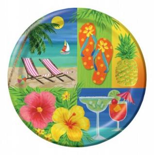 8 große Teller Hawaii Party