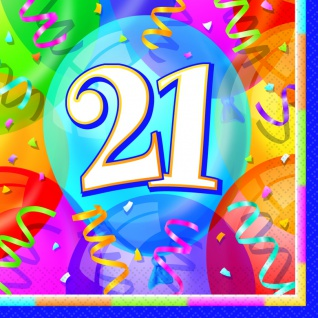 21. Geburtstag Party 16 Servietten