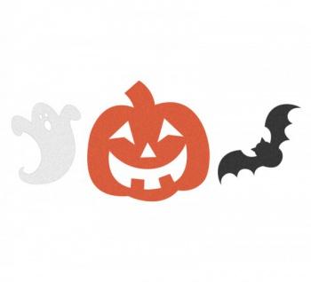12 Halloween Pappschilder Gespenst Kürbis und Fledermaus