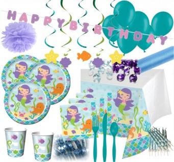 XXL 108 Teile Meerjungfrau Party Deko Set für 8 Kinder