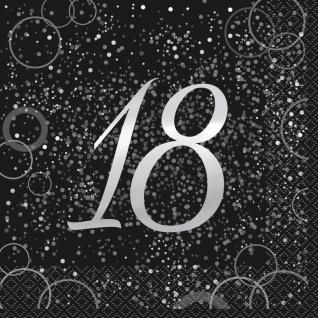 18. Geburtstag 16 Servietten in Schwarz Silber foliert