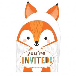 8 Einladungskarten kleine Waldtiere