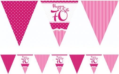 Papier Wimpel Girlande Perfectly Pink zum 70. Geburtstag