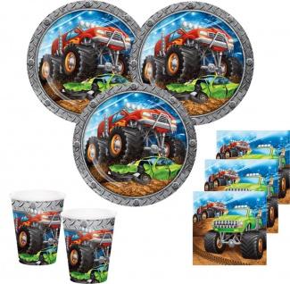 Monster Truck Rallye Party Set für 16 Personen - 48 Teile