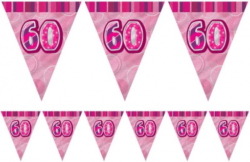 60. Geburtstag Wimpel Girlande Pink