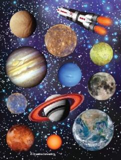 4 Sticker Bogen Weltraum Mission