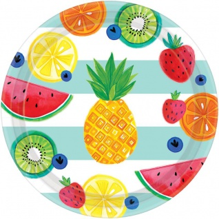8 große Papp Teller Süße Früchte Mix Party 26cm