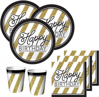 53 Teile Set zum 20. Geburtstag oder Jubiläum - Party Deko in Schwarz & Gold - Vorschau 2