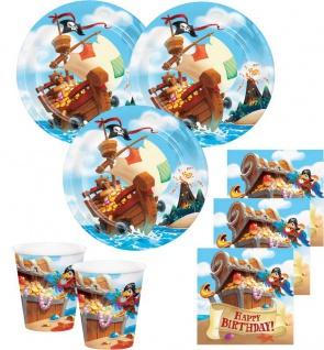 48 Teile Piraten auf der Schatzsuche Geburtstags Party Deko Set für 16 Kinder