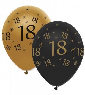 6 Luftballons 18. Geburtstag Black and Gold