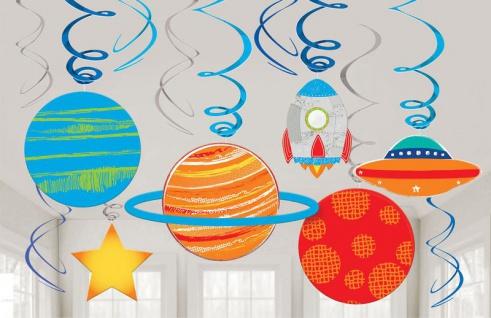 12 hängende Swirl Girlanden + 6 Pappschilder Weltraum bunte Planeten
