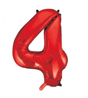 XXL Folien Ballon in Form der Zahl 4 Rot 86 cm