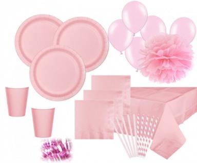 XXL 102 Teile Party Deko Set Pastell Rosa für 16 Personen