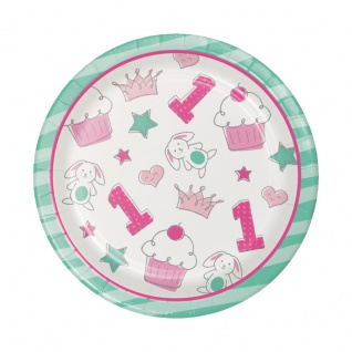 8 kleine Papp Teller Doodle in Rosa