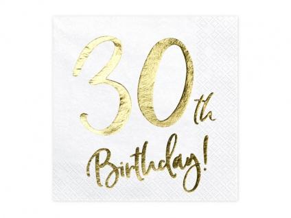 20 Servietten zum 30. Geburtstag in Weiß Gold foliert